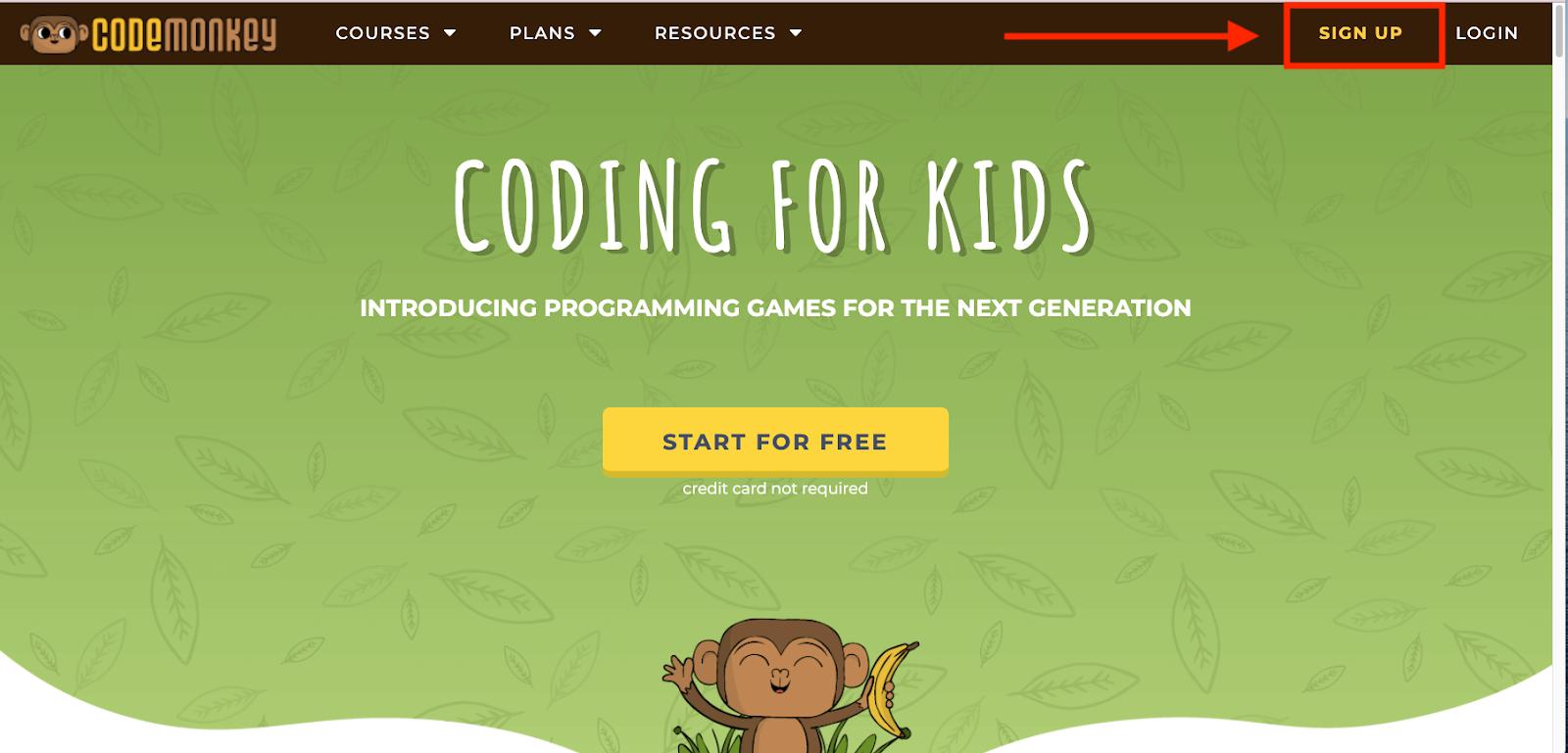 CodeMonkey.com homepage